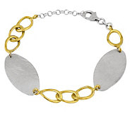 Sterling & Goldtone Oval Flat Disc Bracelet - J303191