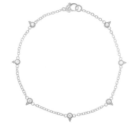 Judith Ripka Sterling Silver and Diamonique Anklet — QVC.com