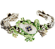 Barbara Bixby Sterling & 18K Multi-Gemstone Frog Hinged Cuff Bracelet - J320291