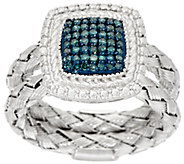 Square Double Braided Diamond Ring, Sterling, 1/4 cttw, by Affinity - J321391