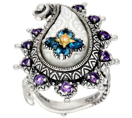 Barbara Bixby Sterling & 18K Multi-Gemstone Paisley Ring - J322491