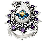 Barbara Bixby Sterling & 18K Multi-Gemstone Paisley Ring - J322491