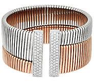 Bronze Diamonique Tubogas Cuff Bracelet by Bronzo Italia - J322791