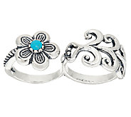 Sterling & Turquoise Double Finger Flower Ring by American West - J323891
