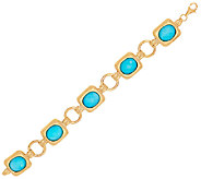 14K Gold Small Sleeping Beauty Turquoise Doublet Bracelet - J324791