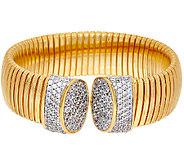 Bronze Pave Crystal Tubogas Cuff Bracelet by Bronzo Italia - J325091