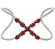 Carolyn Pollack Sterling Silver Red Coral X Cuff - J325191