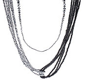 As Is Susan Graver Multi- Strand Metallic Faceted Bead Necklace - J327791