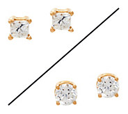 Princess or Round Diamond Stud Earrings, 14K, 1/4 cttw, by Affinity - J329591