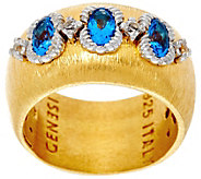Genesi 18K Clad Blue Topaz 3-Stone Band Ring - J330191