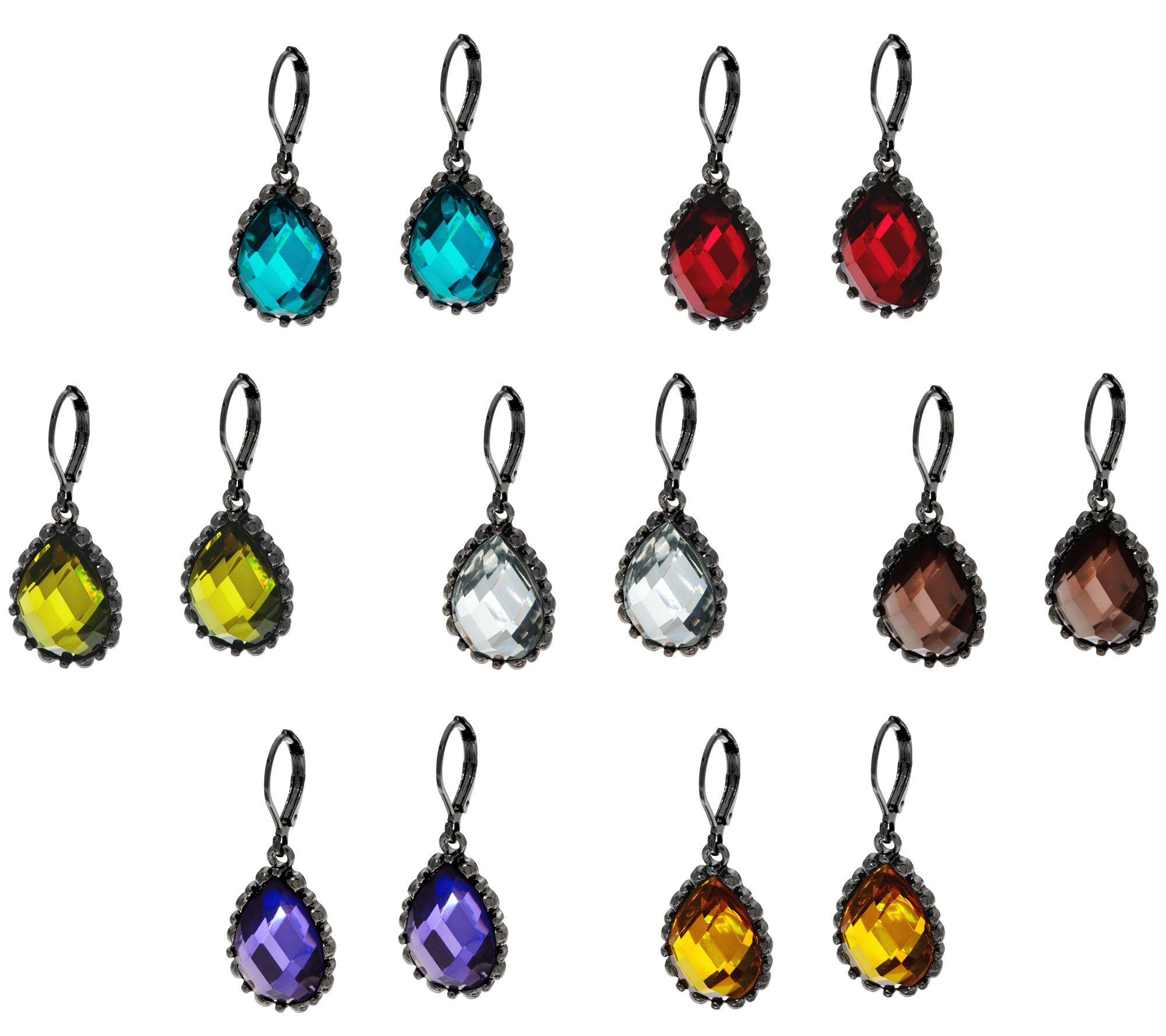 7 Faceted Teardrop Lever Back Earrings  Page 1 — Qvc