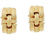 Italian Silver Sterling Textured Woven Omega Back Earrings - J330691