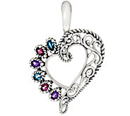 Carolyn Pollack Sterling Silver Multi-Gemstone Heart Enhancer - J330791