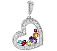 Judith Ripka Sterling Silver Gemstone & Diamonique Enhancer - J331291