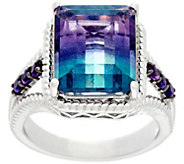 Emerald Cut Bi-Color Fluorite & Amethyst Sterling Ring - J331391