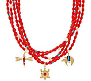 Red Coral Bead Removable Statement Necklace by American West - J334091