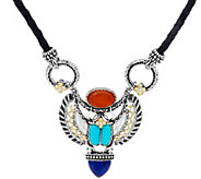 Barbara Bixby Sterling & 18K Gemstone Scarab Necklace - J334291