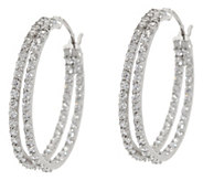 Diamonique 1.45 cttw 1 Double Hoop Earrings, Sterling - J335091