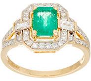 Emerald Cut Precious Gemstone & Diamond Ring 14K Gold - J335691