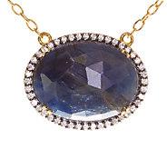 Graziela Gems Oval Sapphire & Zircon Pendant, Sterling/18K - J337091