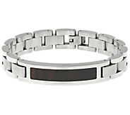 Stainless Steel Identification Bracelet with Wooden Inlay - J337891