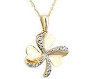 Solvar Diamond Shamrock Pendant with Chain, 14KGold - J337991