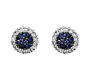 Sapphire & Diamond Circle Post Earrings, 14K White Gold - J338491