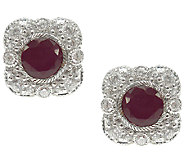 Judith Ripka Sterling w/ Diamonique & Ruby Stud Earrings - J340991
