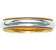 14K Gold Two-Tone Comfort Fit Wedding Band w/Miligrain - J341291