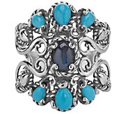 Carolyn Pollack Sterling Labradorite and Turquoise Ring - J342291
