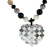 Lee Sands Agate & Mother-of-Pearl Heart Inlay 20 Necklace - J342891