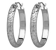 EternaGold 1 Diamond Cut Round Hoop Earrings,14K - J343091