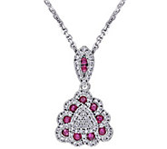 0.30 cttw Ruby & 3/10 cttw Diamond Pendant w/Chain, 14K - J344091