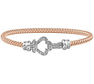 Sterling & 14K Gold-plated Crystal Clover WovenBangle - J344291