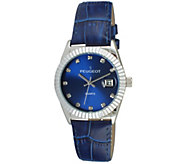 Peugeot Womens Silvertone Coin Bezel Blue Leather Watch - J344591