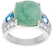 Burmese Jade and Gemstone Sterling Silver Ring 1.60 cttw - J348791