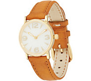 Vicence Round Case Leather Strap Watch 14K Gold - J349091