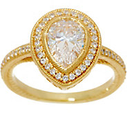 Judith Ripka 14K Clad Pear Shape Diamonique Ring, 1.40 cttw - J349791