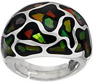 Ammolite Mosaic Sterling Silver Domed Ring - J350091