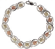Black Hills 7-3/4 Figure-Eight Leaf Bracelet,S terling/12K - J110792