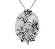 Suspicion Sterling Marcasite Mother-of-Pearl Pendant w/Chain - J112492