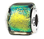 Prerogatives Sterling Yellow/Green Dichroic Glass Square Bead - J113392