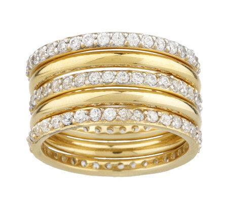 diamonique 18k gold clad 5 wide band ring qvc