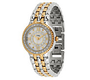 Diamonique Pave Dial Panther Link Bracelet Watch - J262092