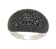 3.55 ct tw Black Spinel Pave Domed Ring, Sterling - J276092