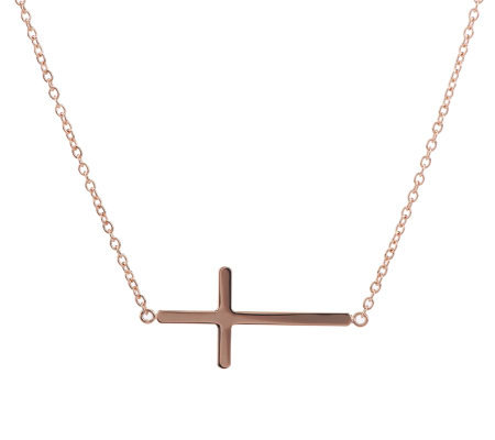 bronzo italia 18 quot polished horizontal cross necklace qvc