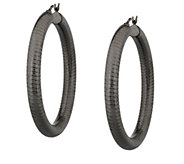 Sterling 1-3/4 Textured Round Hoop Earrings - J290092