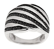 VicenzaSilver Sterling 0.80 ct tw Black Spinel Swirl Ring - J290292