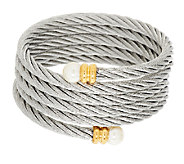 Stainless Steel Multi-Wrap Cable Bracelet w/Simulated Endcaps - J291492