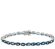 Ostro London Blue Topaz 14.00 ct tw 6-3/4 Sterl. Tennis Bracelet - J295092